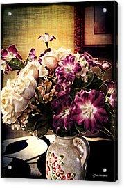 Purple Floral Arrangement Acrylic Print by Joan  Minchak