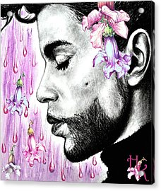 Purple Flower Rain  Prince, Roger Nelson Acrylic Print by Heidi Kriel