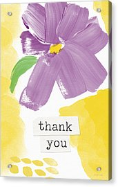 Purple Flower Thank You Card- Art By Linda Woods Acrylic Print