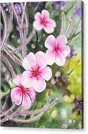 Acrylic Print featuring the painting Purple Flowers In Golden Gate Park San Francisco by Irina Sztukowski