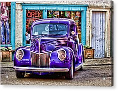 Purple Ford Deluxe Acrylic Print by Carol Leigh