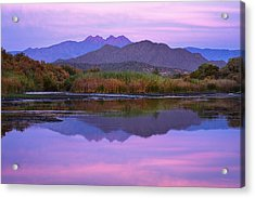 Purple Four Peaks Reflections Acrylic Print