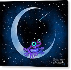 Acrylic Print featuring the painting Purple Frog On A Crescent Moon by Nick Gustafson