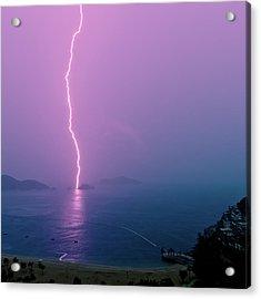 Purple Glow Of Lightning Acrylic Print by Judi Mowlem