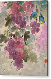 Purple Grapes And Blue Birds Acrylic Print by Lian Zhen
