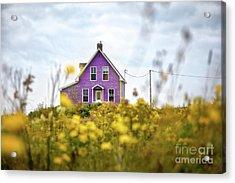 Purple House And Yellow Flowers Acrylic Print