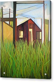 Purple House In A Green Field Acrylic Print