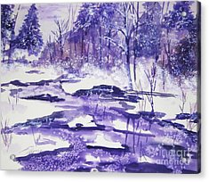 Acrylic Print featuring the painting Purple Ice On Kaaterskill Creek by Ellen Levinson