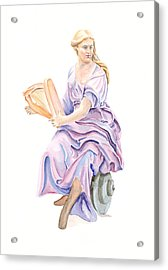 Acrylic Print featuring the painting Purple Lady by Elizabeth Lock