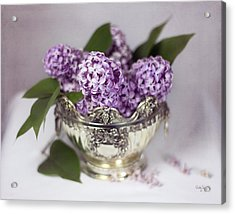 Purple Lilacs In Silver Bowl Acrylic Print