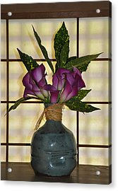 Purple Lilies In Japanese Vase Acrylic Print by Bill Cannon