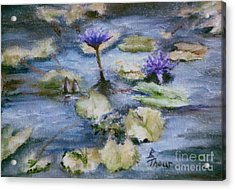 Acrylic Print featuring the painting Purple Lily by Brenda Thour