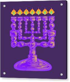 Purple Menorah Flamed Acrylic Print