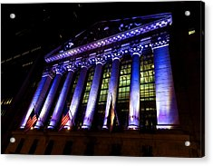 Purple New York Stock Exchange At Night - Impressions Of Manhattan Acrylic Print