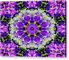 Purple Passion Floral Design Acrylic Print by Carol F Austin