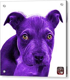 Purple Pitbull Puppy Pop Art - 7085 Wb Acrylic Print by James Ahn