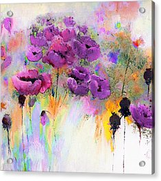 Purple Poppy Passion Painting Acrylic Print by Lisa Kaiser