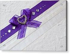 Purple Ribbon Heart Acrylic Print