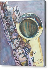 Purple Sax Acrylic Print by Jenny Armitage