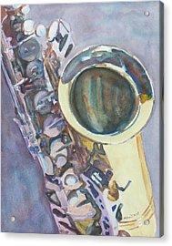 Purple Sax Acrylic Print by Jenny Armitage