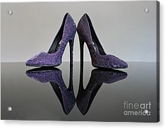 Purple Stiletto Shoes Acrylic Print by Terri Waters
