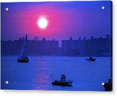 Purple Sunset Off Breezy Point Bayside Acrylic Print