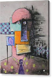 Acrylic Print featuring the mixed media Purple Tie by Teddy Campagna