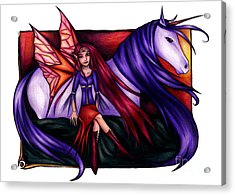 Purple Unicorn With Fairy Friend Acrylic Print