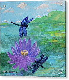 Purple Water Lily And Dragonflies Acrylic Print
