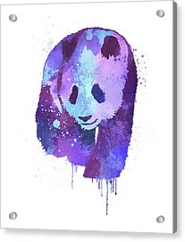 Purple Watercolor Panda Acrylic Print by Thubakabra