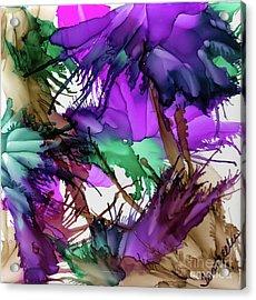 Purple Peacock  Acrylic Print by Jo Ann Bossems