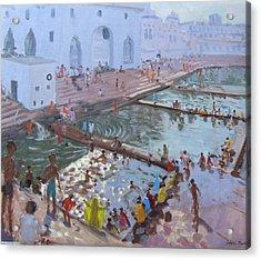 Pushkar Ghats Rajasthan Acrylic Print by Andrew Macara