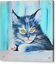 Acrylic Print featuring the painting Pussy Cat by Jutta Maria Pusl