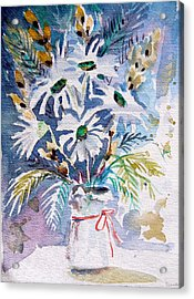 Pussy Willow And Daisies Acrylic Print by Mindy Newman
