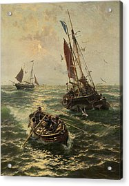 Putting The Catch Ashore Acrylic Print by Thomas Rose Miles