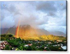 Puu Alii With Rainbow Acrylic Print by Dan McManus