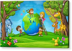 Puzzle World Acrylic Print