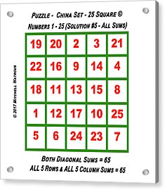 Puzzles - Magic Square 25 - Solution #5 Acrylic Print