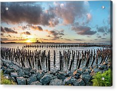 Pylons Mill Sunset Acrylic Print by Greg Nyquist