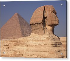 Pyramid And Sphinx Acrylic Print by Mary Lane