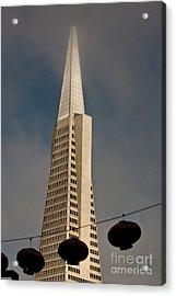 Pyramid Building San Francisco With Incoming Fog Acrylic Print by Mark Hendrickson