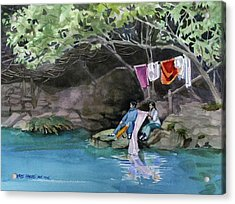 Acrylic Print featuring the painting Laundry Day by Kris Parins