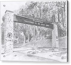 Acrylic Print featuring the drawing Quantico Welcome Graphite by Betsy Hackett