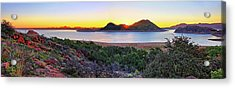 Quartz Mountains And Lake Altus Panorama - Oklahoma Acrylic Print