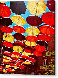 Acrylic Print featuring the painting Raining Umbrellas by Joan Reese