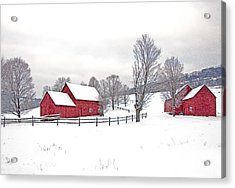 Quechee Barns In Winter Acrylic Print
