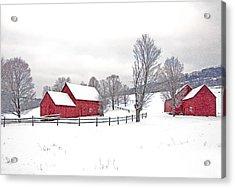 Quechee Barns In Winter Acrylic Print by Gordon Ripley