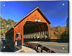 Quechee Covered Bridge Acrylic Print by Allen Beatty