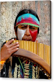 Quechuan Pan Flute Player Acrylic Print by Al Bourassa