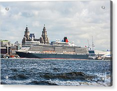 Queen Elizabeth Cruise Ship At Liverpool Acrylic Print